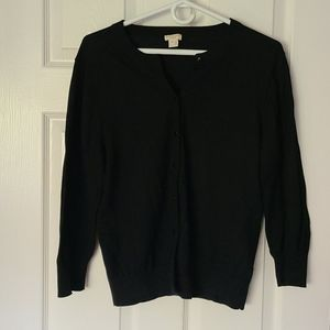 J.Crew black cardigan with cropped sleeves